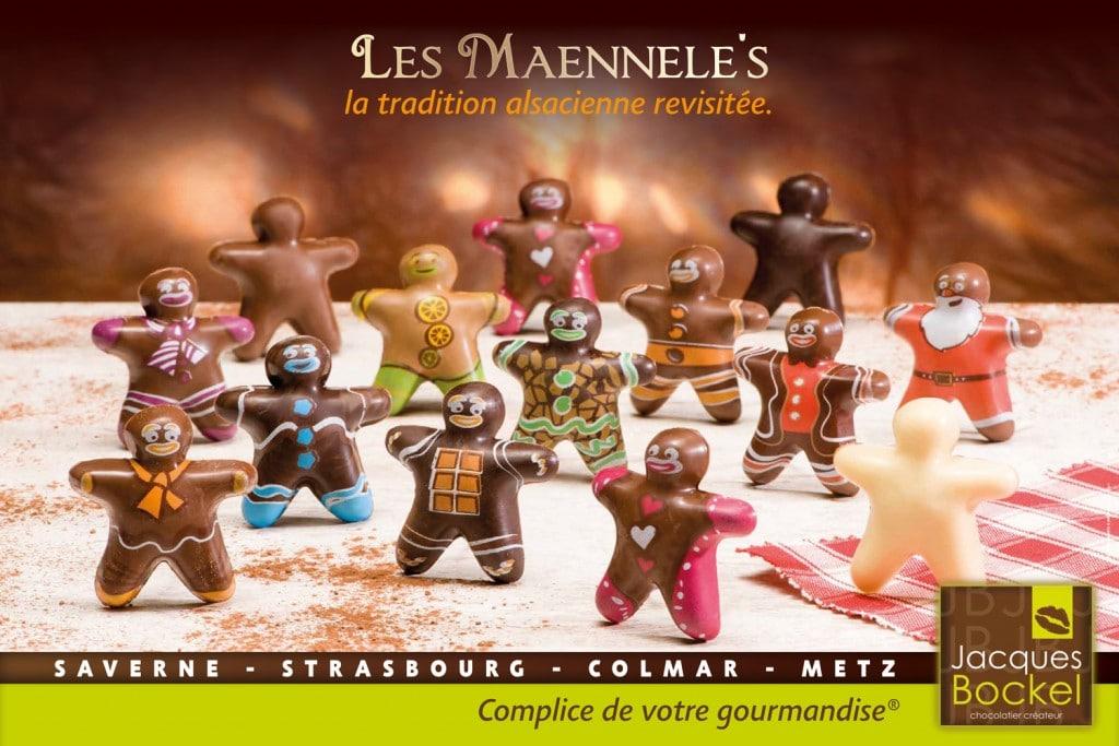 Les Maennele's - Affiche publicitaire & Décors sur chocolats (Photo Marcel Ehrhard)
